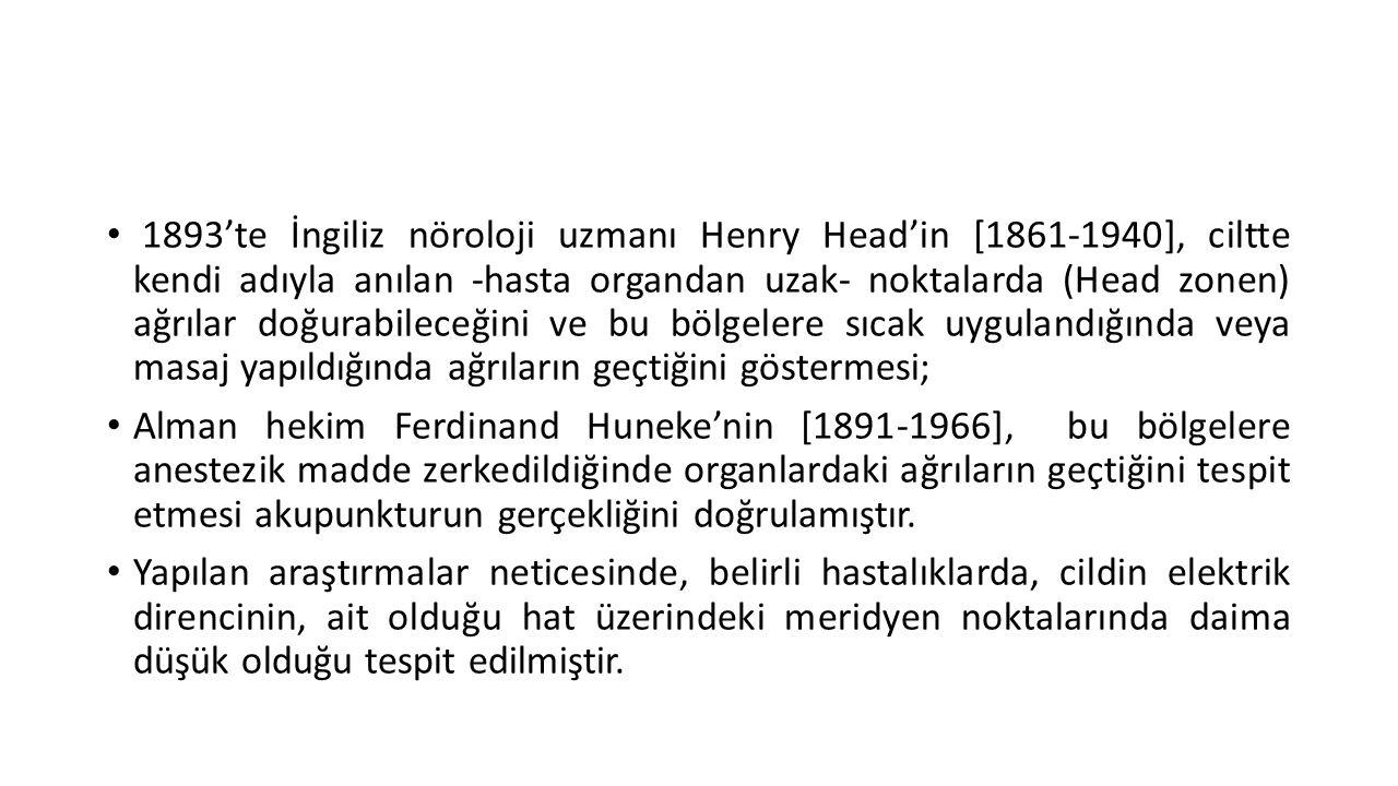 1893'te İngiliz nöroloji uzmanı Henry Head'in [1861-1940], ciltte kendi adıyla anılan -hasta organdan uzak- noktalarda (Head zonen) ağrılar doğurabileceğini ve bu bölgelere sıcak uygulandığında veya masaj yapıldığında ağrıların geçtiğini göstermesi;